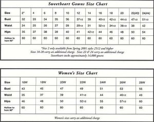 Sweetheart Size Chart Sweetheart Gowns Size Chart