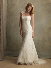 Allure Couture Bridal Swarovski Crystal, Organza, Satin and Lace Assymetrical St