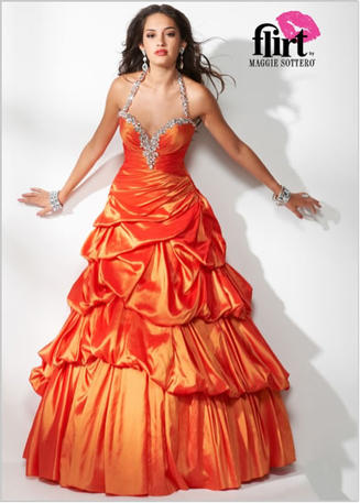 All-taffeta ball gown.