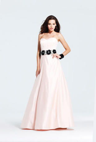 Strapless satin A-line gown.