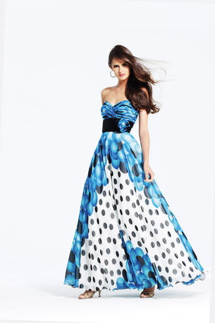 Polka dot Chiffon ball gown Faviana 6910 OnSale