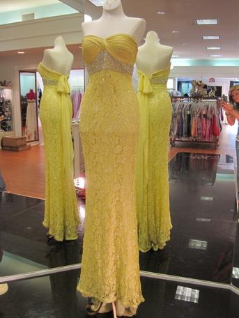 Sherri Hill Yellow Beaded Lace